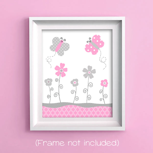 pink and gray butterfly wall art