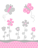 pink and gray butterflies and flowers nursery print
