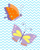 nursery art print of two butterflies on chevron