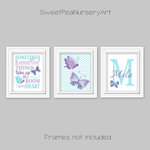 aqua and purple butterfly nursery art