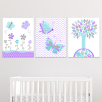 aqua and purple butterfly canvas decor