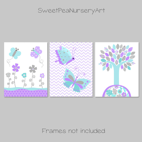 set of three butterfly nursery prints