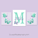 mint and purple butterfly decor