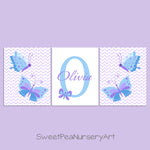 set of three blue and purple butterfly prints