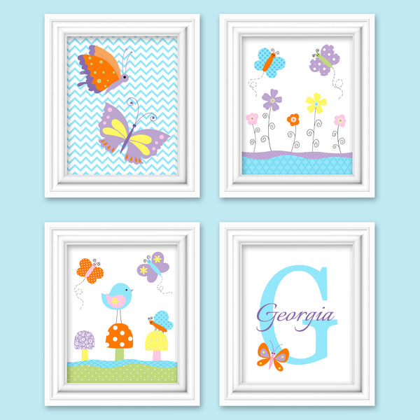 set of four butterfly nursery art prints