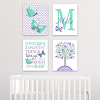 purple and mint butterfly decor