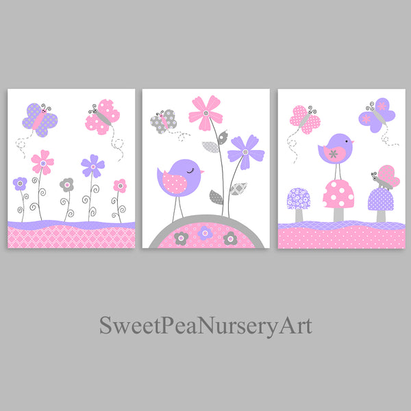 set of 3 nursery art prints with birds and butterflies in pink, purple and grey.