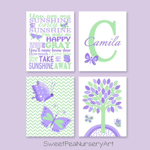 mint and purple butterfly prints