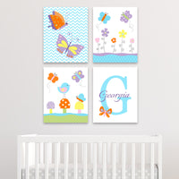 set of four butterfly canvas prints