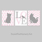 set of three kitten nursery prints