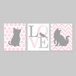 Printable Kitten Nursery Decor | Digital Files | Baby Girl Wall Art | Pink and Grey | Set of 3 | DIY