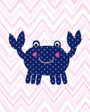 Pink and navy crab print