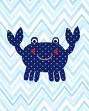 Blue and red crab nursery decor