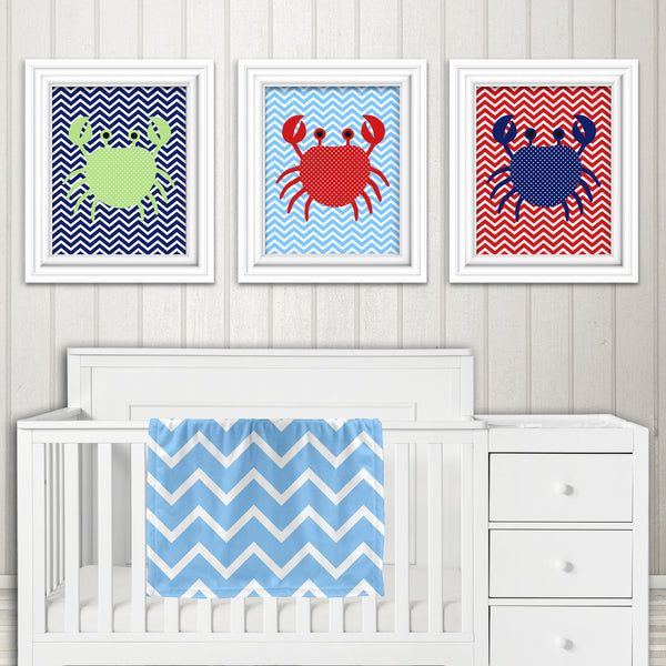 set of three crab nursery prints