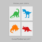 set of 4 dinosaur nursery prints