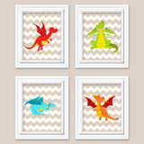 set of four cute dragon nursery prints