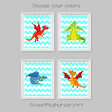 set of four prints with colorful dragons on aqua chevron