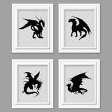 set of four dragon pictures