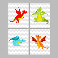 set of four cute colorful dragons on chevron nursery prints