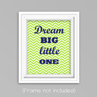 lime green and navy dream big little one nursery print