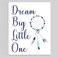 boho tribal style dream big little one nursery art print with dream catcher in navy mint and grey, printable file
