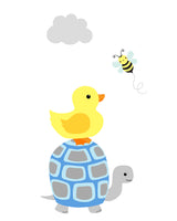 duck and turtle art print