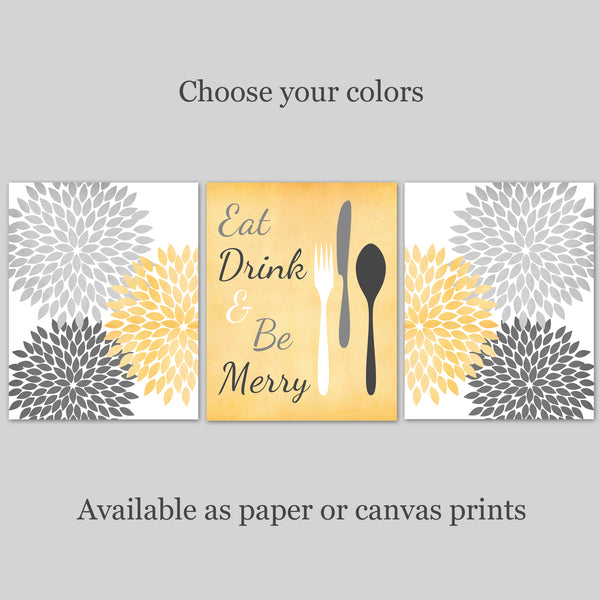Kitchen Art Prints | Kitchen Wall Decor | Set of 3 Prints | Canvas or Paper | Choose Your Colors