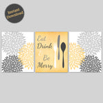 Printable Kitchen Wall Art | DIY Kitchen Decor | Yellow and Grey Dining Room Prints | Set of 3