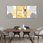 yellow and grey kitchen wall decor