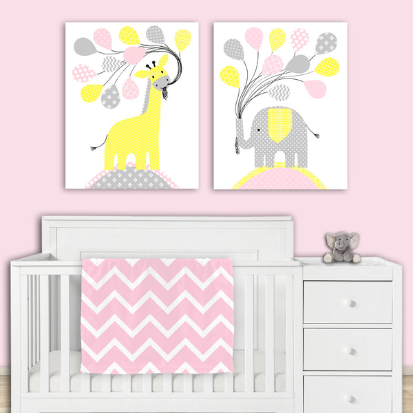 elephant and giraffe nursery art prints