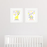 pink and yellow baby room decor