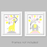 giraffe and elephant nursery baby prints