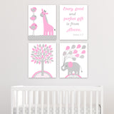 grey and pink nursery art prints set of 4