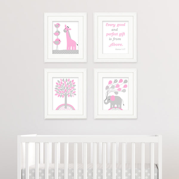 gray and pink nursery canvases