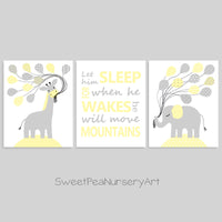 gray and pale yellow nursery art