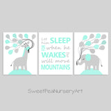 Let him sleep nursery art with a giraffe and an elephant print in mint and gray