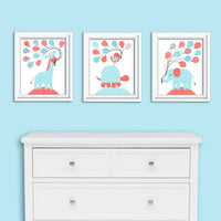 Aqua and coral baby girl decor