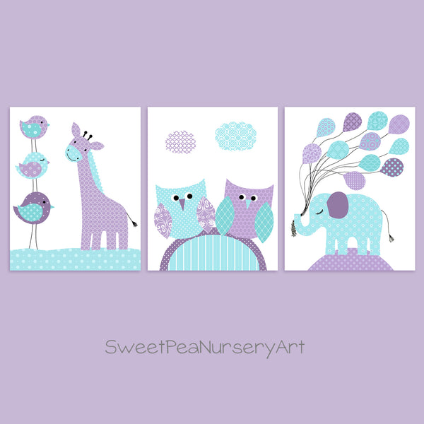 aqua and purple baby girl decor