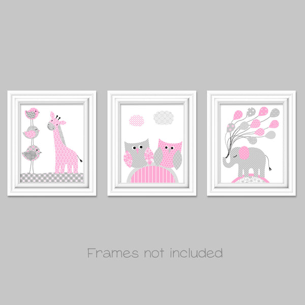 Grey and Pink, Nursery Wall Art, Zoo Nursery, Owl Nursery, Girl's Room Decor, Baby Girl