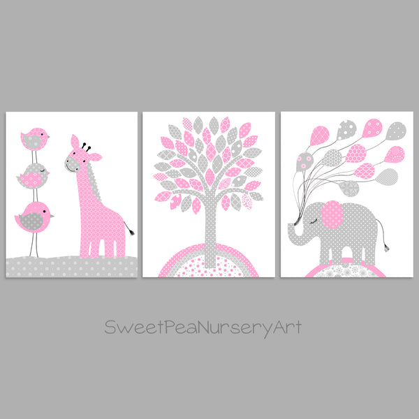 Baby pink and grey girl nursery jungle animal decor