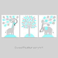 This is a set of aqua and grey elephant and giraffe prints