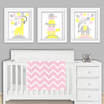 set of three gray, pink and yellow nursery pictures