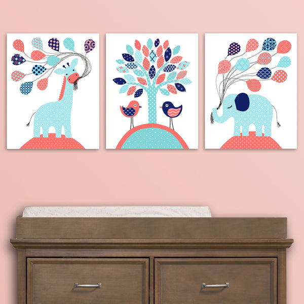 Set of three canvas prints for a baby girl nursery in aqua, coral and navy