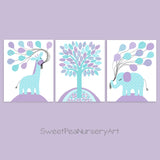 aqua and purple nursery prints with giraffe, tree and elephant
