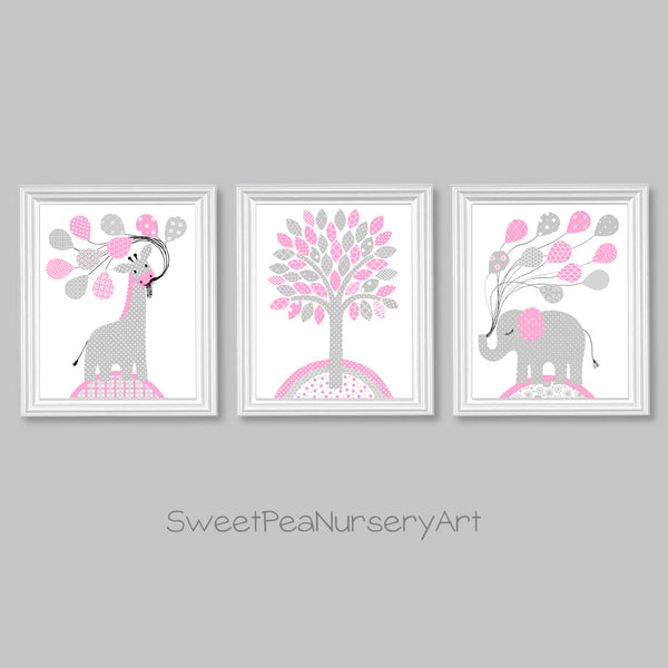 Gray and pink jungle animal pictures