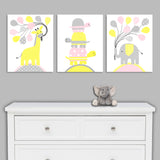 Pink and yellow nursery animal canvas prints