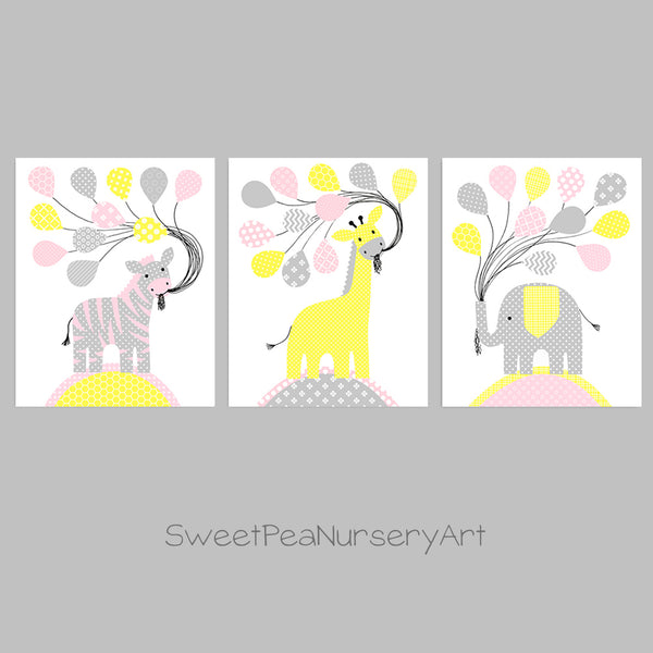 elephant, giraffe and zebra nursery decor in gray, pink and yellow