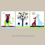 blue, maroon and green nursery decor
