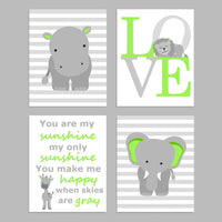 bright green and grey zoo nursery art prints, set of 4
