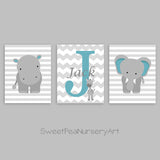 Set of three nursery prints in teal and gray with an elephant, hippo and monogram with giraffe.